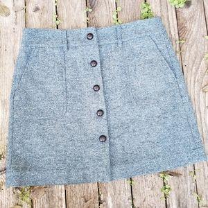 Ann Taylor Loft 8 Button Front Tweed Mini Skirt